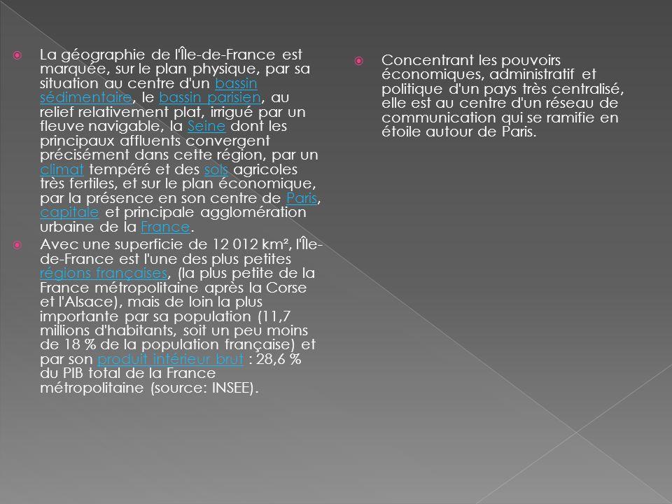 La géographie de l Île-de-France est marquée, sur le plan physique, par sa situation au centre d un bassin sédimentaire, le bassin parisien, au relief relativement plat, irrigué par un fleuve navigable, la Seine dont les principaux affluents convergent précisément dans cette région, par un climat tempéré et des sols agricoles très fertiles, et sur le plan économique, par la présence en son centre de Paris, capitale et principale agglomération urbaine de la France.