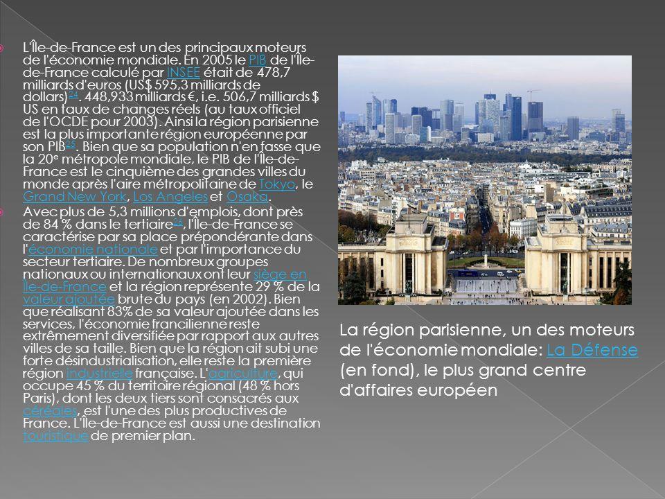 L Île-de-France est un des principaux moteurs de l économie mondiale