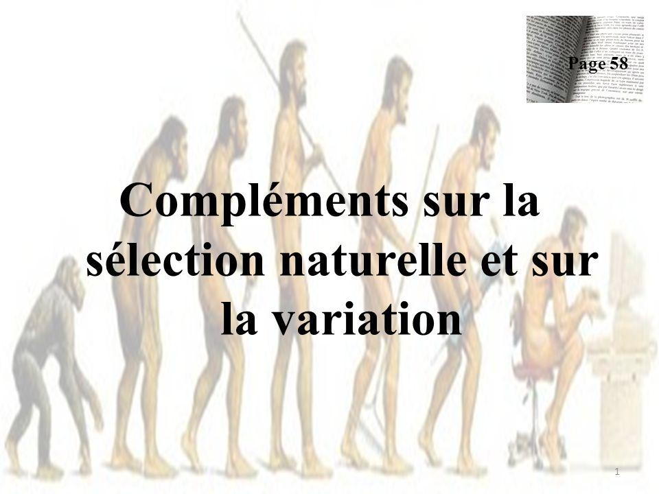 Compléments sur la sélection naturelle et sur la variation