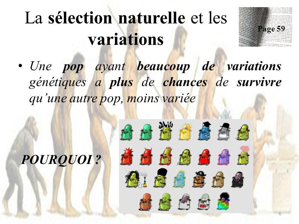 La sélection naturelle et les variations