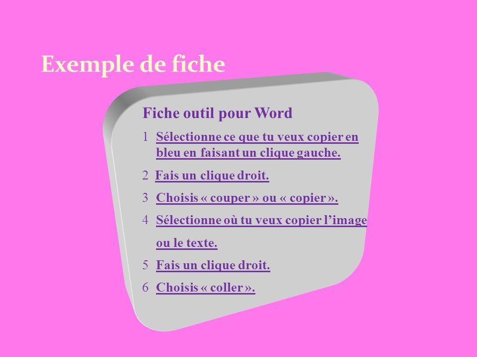 Exemple de fiche Fiche outil pour Word