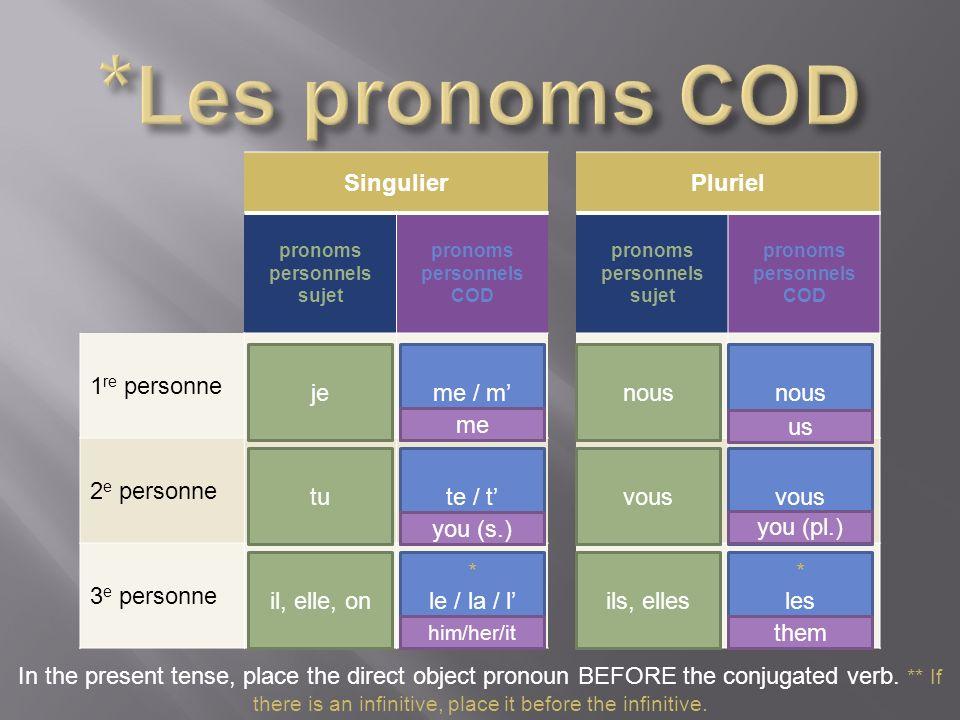 pronoms personnels sujet pronoms personnels COD