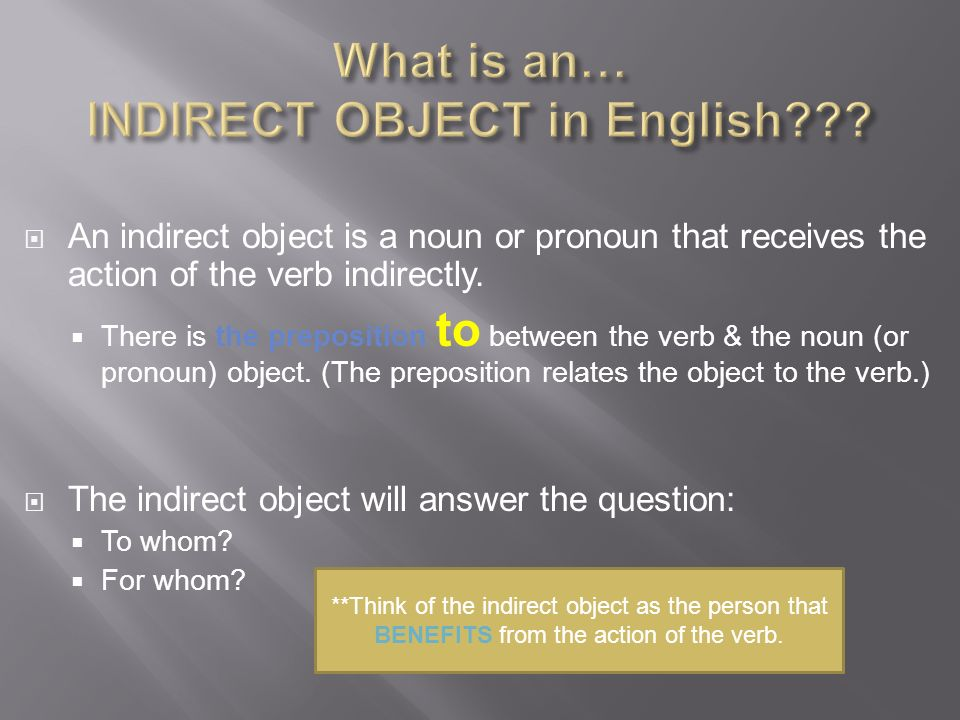 What is an… INDIRECT OBJECT in English