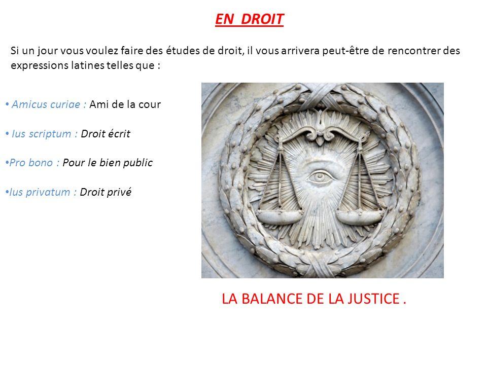 LA BALANCE DE LA JUSTICE .