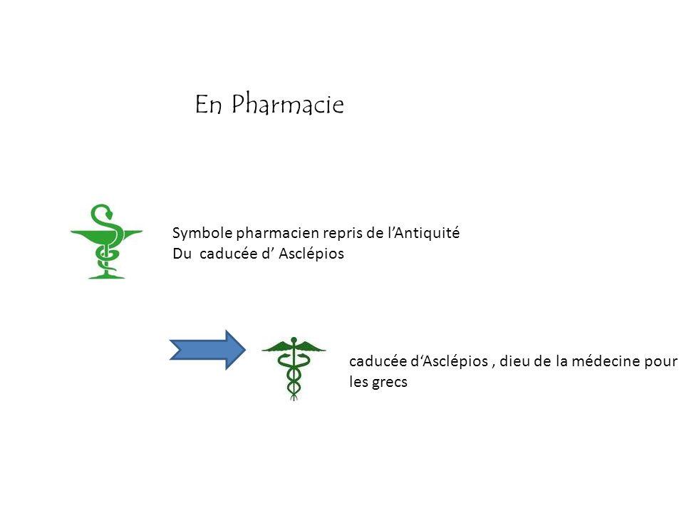 En Pharmacie Symbole pharmacien repris de l'Antiquité
