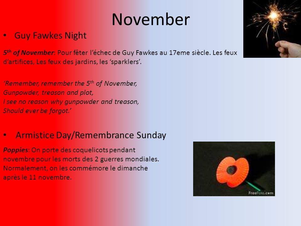 November Guy Fawkes Night Armistice Day/Remembrance Sunday