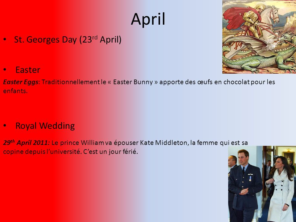 April St. Georges Day (23rd April) Easter Royal Wedding