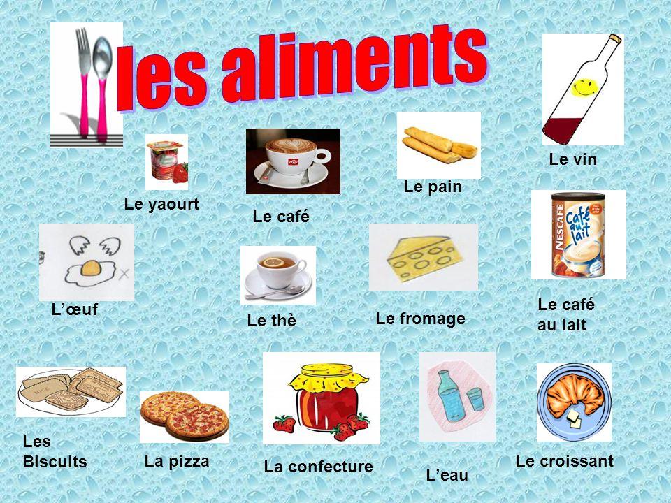 les aliments Le pain Le café Le vin Le yaourt Le café au lait