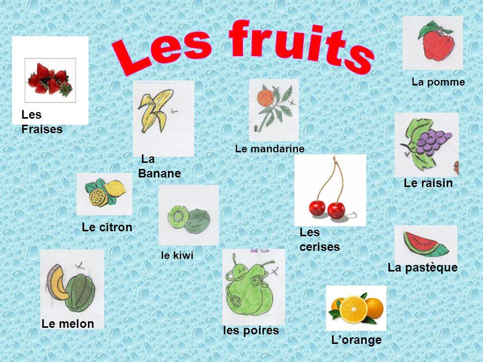Les fruits Les Fraises Le raisin Le citron Les cerises le kiwi