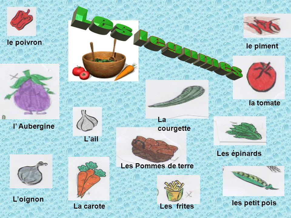 Les legumes le piment le poivron la tomate La courgette l' Aubergine