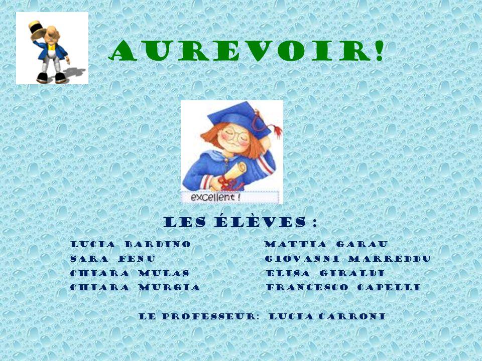 Aurevoir! Les élèves : Lucia Bardino Mattia Garau