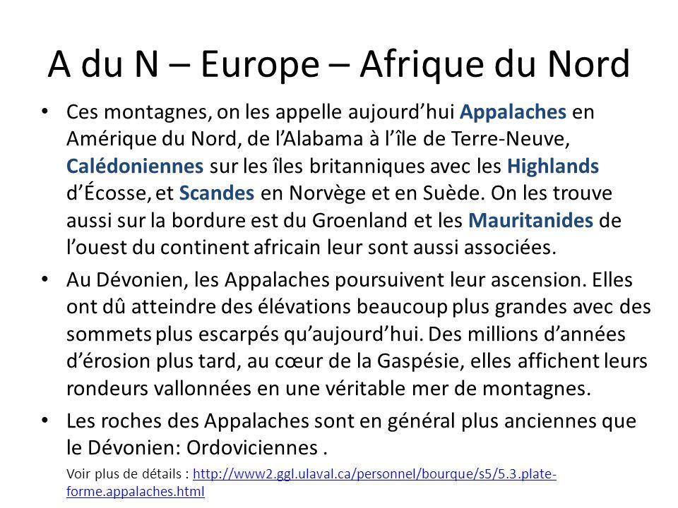 A du N – Europe – Afrique du Nord