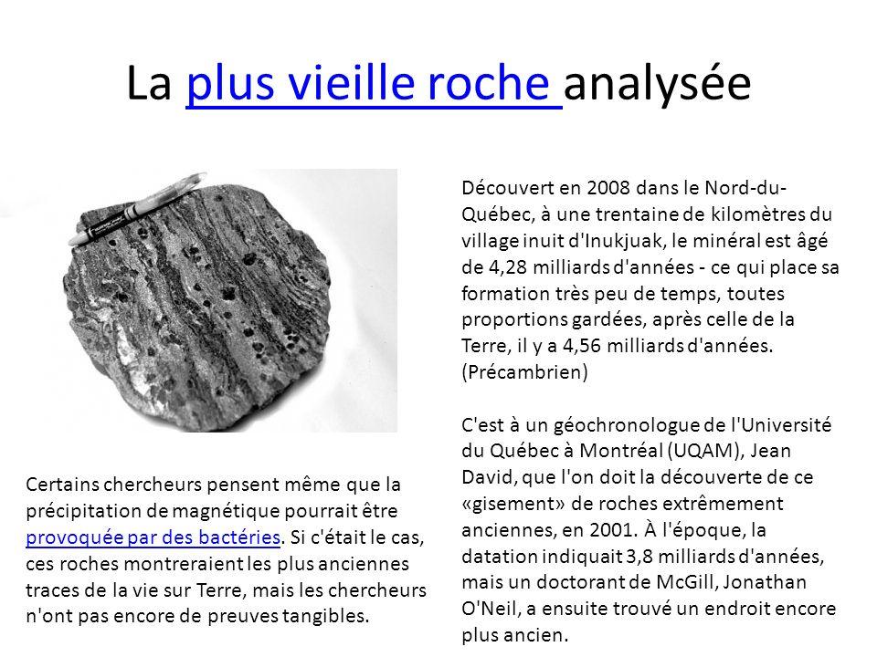 La plus vieille roche analysée