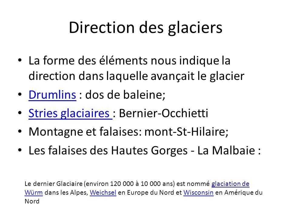 Direction des glaciers
