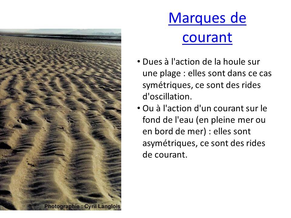 Marques de courant Dues à l action de la houle sur une plage : elles sont dans ce cas symétriques, ce sont des rides d oscillation.