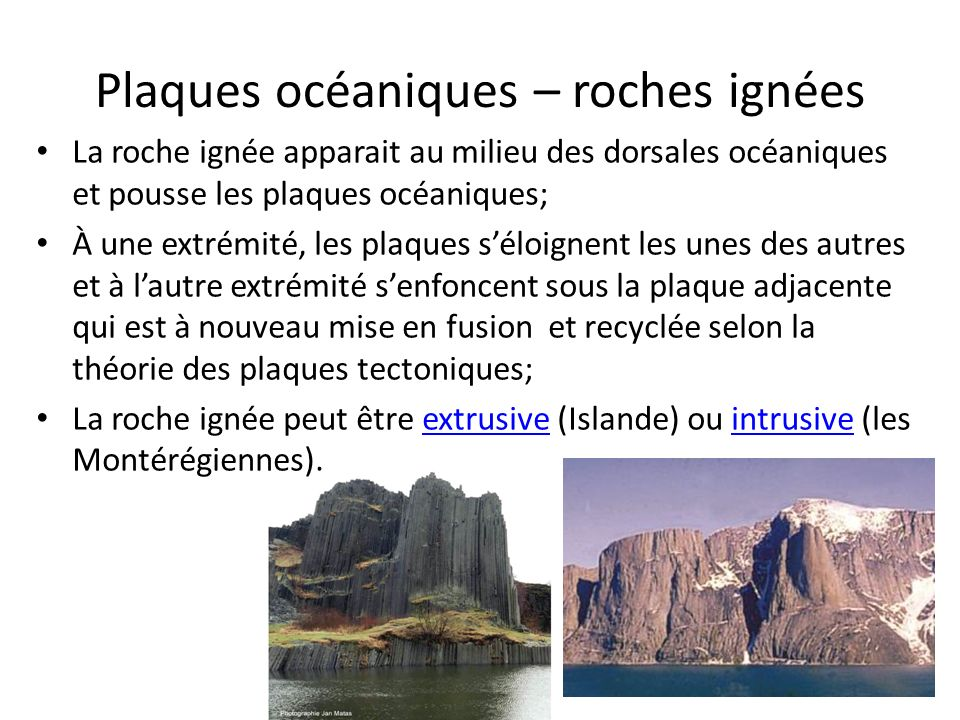 Plaques océaniques – roches ignées