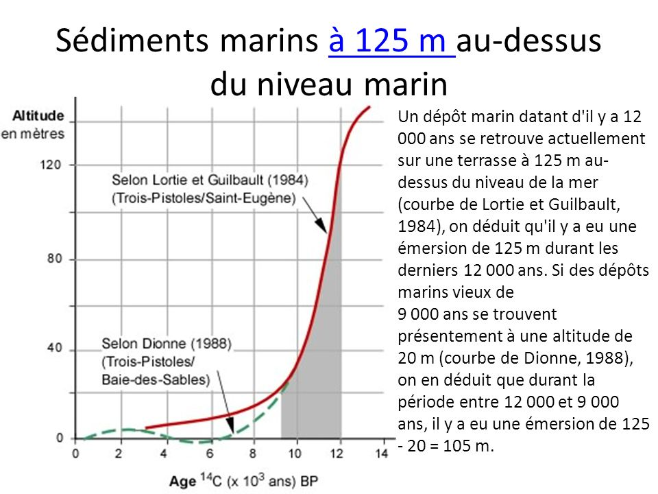 Sédiments marins à 125 m au-dessus du niveau marin