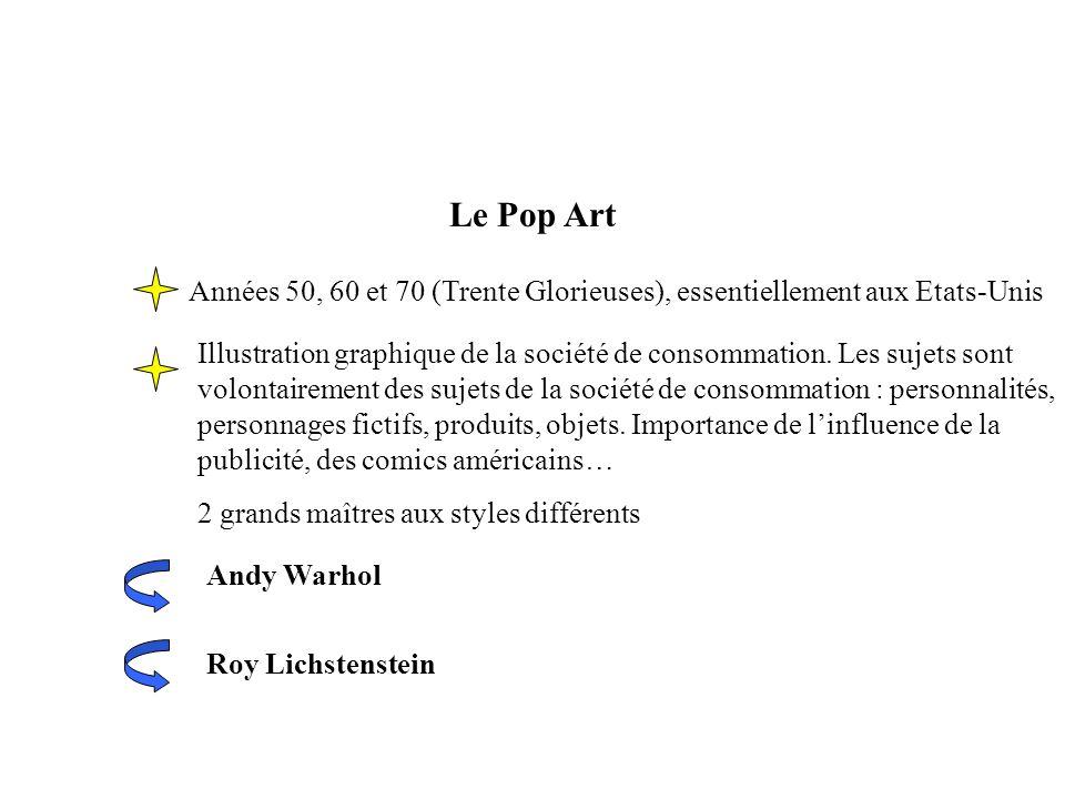 Le Pop Art Années 50, 60 et 70 (Trente Glorieuses), essentiellement aux Etats-Unis.