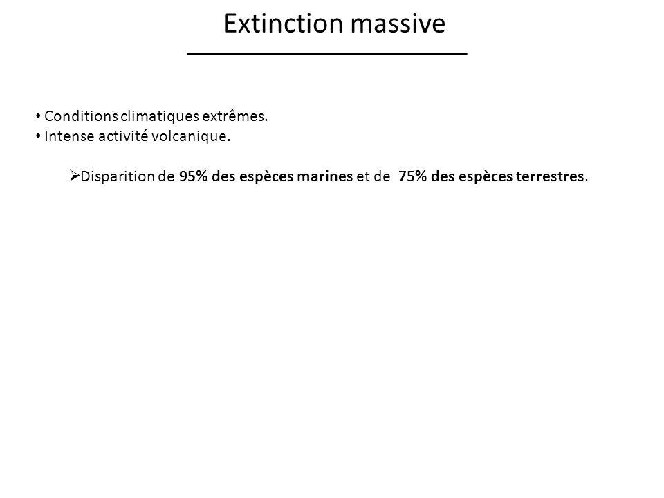 Extinction massive Conditions climatiques extrêmes.