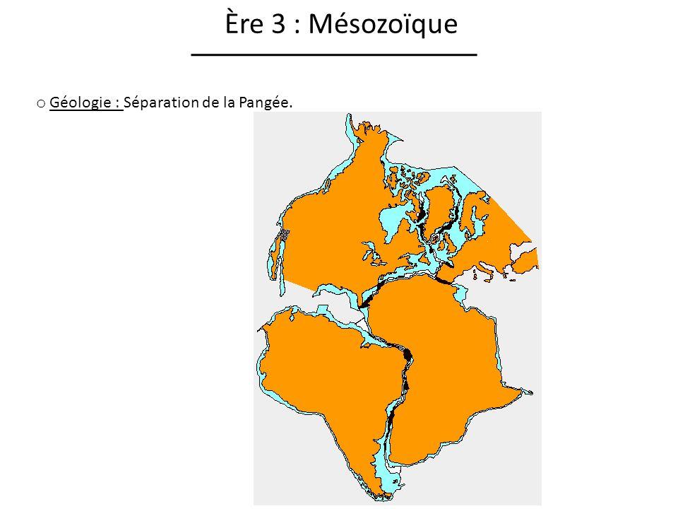 Ère 3 : Mésozoïque Géologie : Séparation de la Pangée.