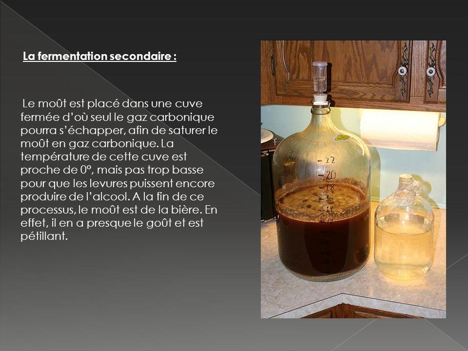 La fermentation secondaire : Le moût est placé dans une cuve fermée d'où seul le gaz carbonique pourra s'échapper, afin de saturer le moût en gaz carbonique.