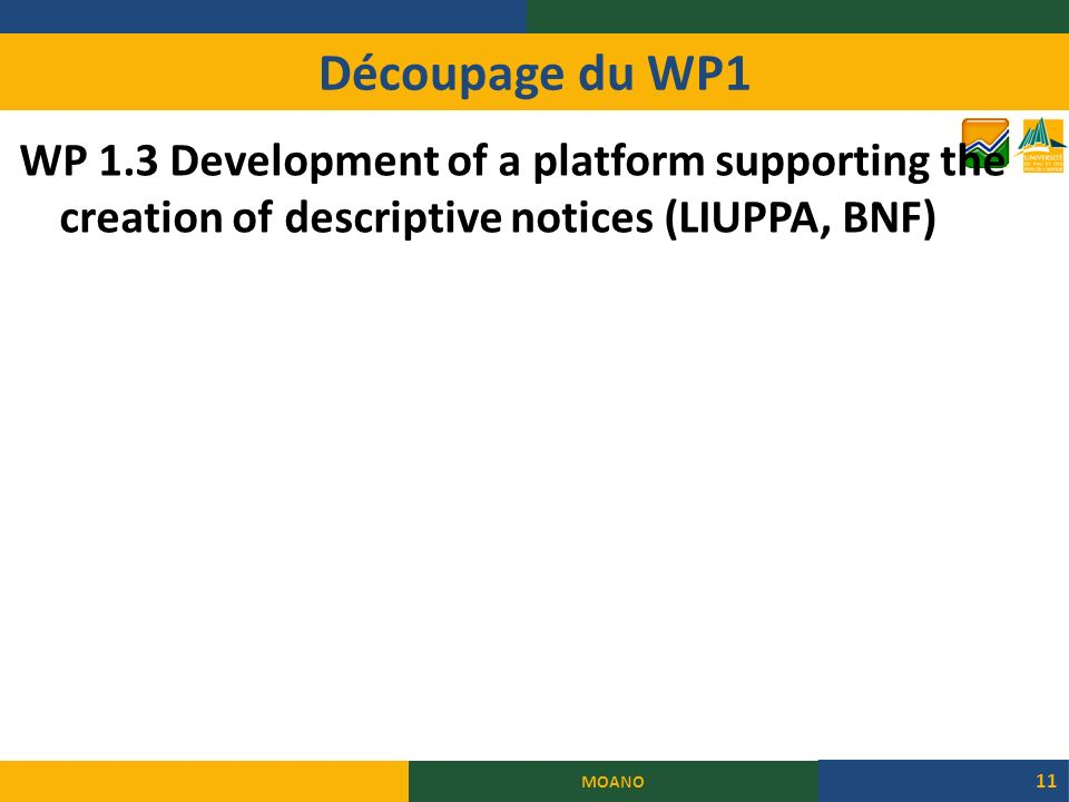 Découpage du WP1 WP 1.3 Development of a platform supporting the creation of descriptive notices (LIUPPA, BNF)