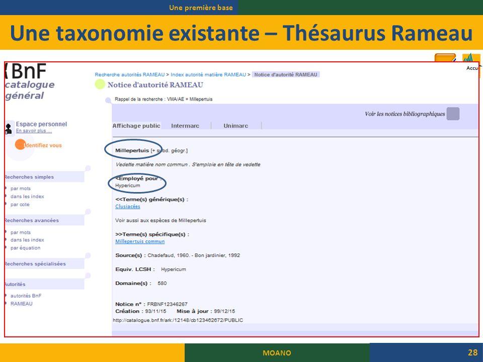 Une taxonomie existante – Thésaurus Rameau