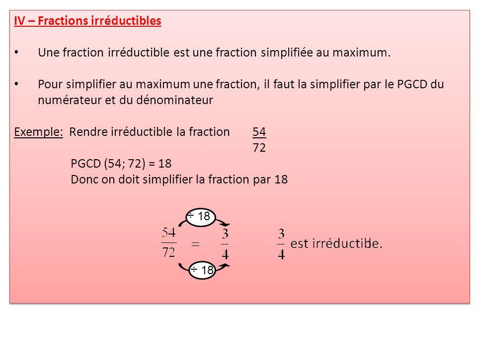 IV – Fractions irréductibles