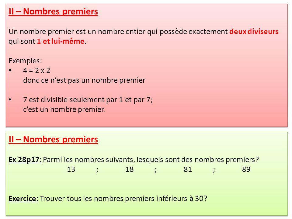 II – Nombres premiers II – Nombres premiers