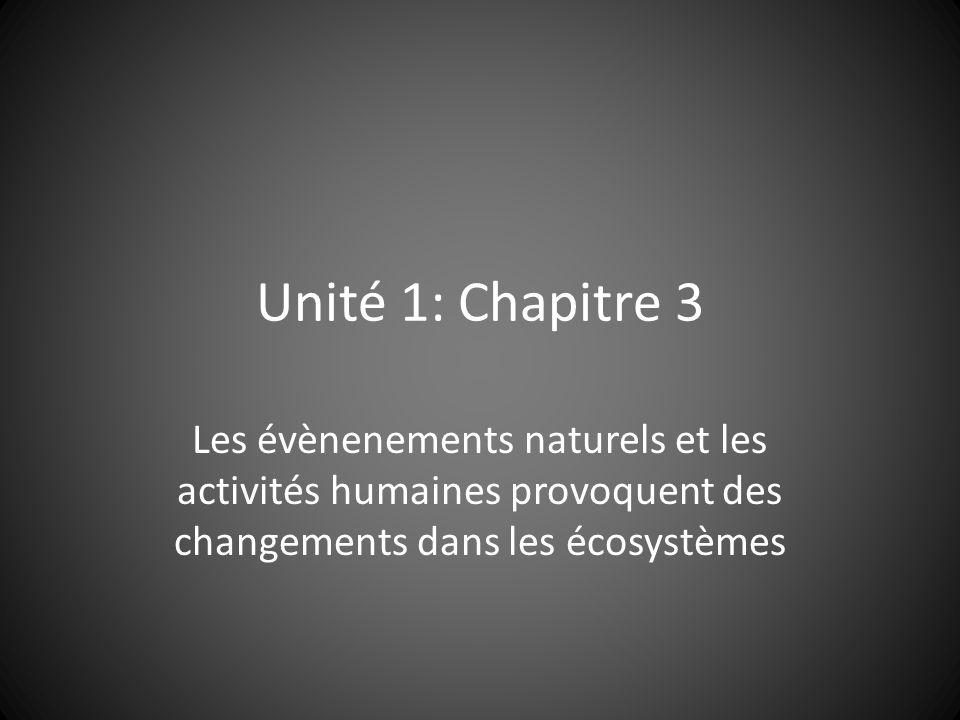 Unité 1: Chapitre 3 Les évènenements naturels et les activités humaines provoquent des changements dans les écosystèmes.