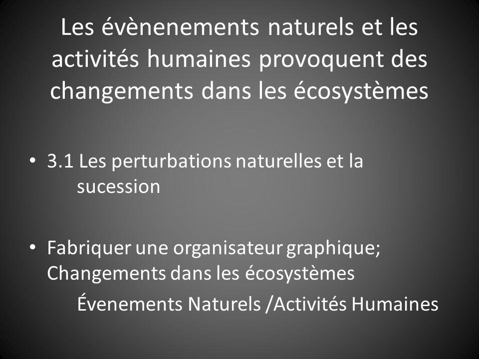 Les évènenements naturels et les activités humaines provoquent des changements dans les écosystèmes