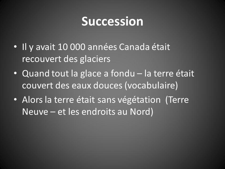 Succession Il y avait 10 000 années Canada était recouvert des glaciers.
