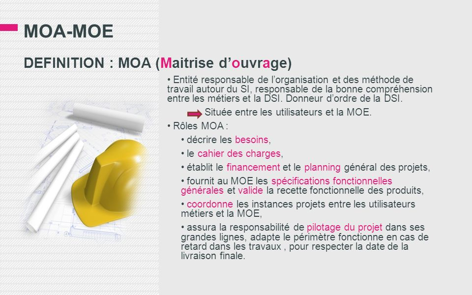 MOA-MOE DEFINITION : MOA (Maitrise d'ouvrage)
