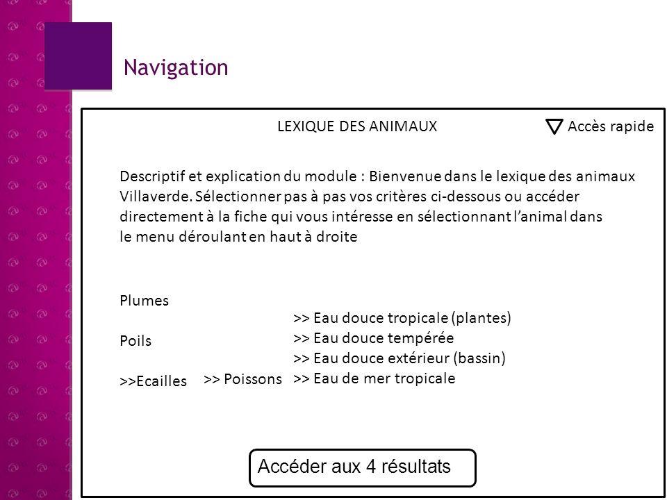 Navigation Accéder aux 4 résultats LEXIQUE DES ANIMAUX Accès rapide