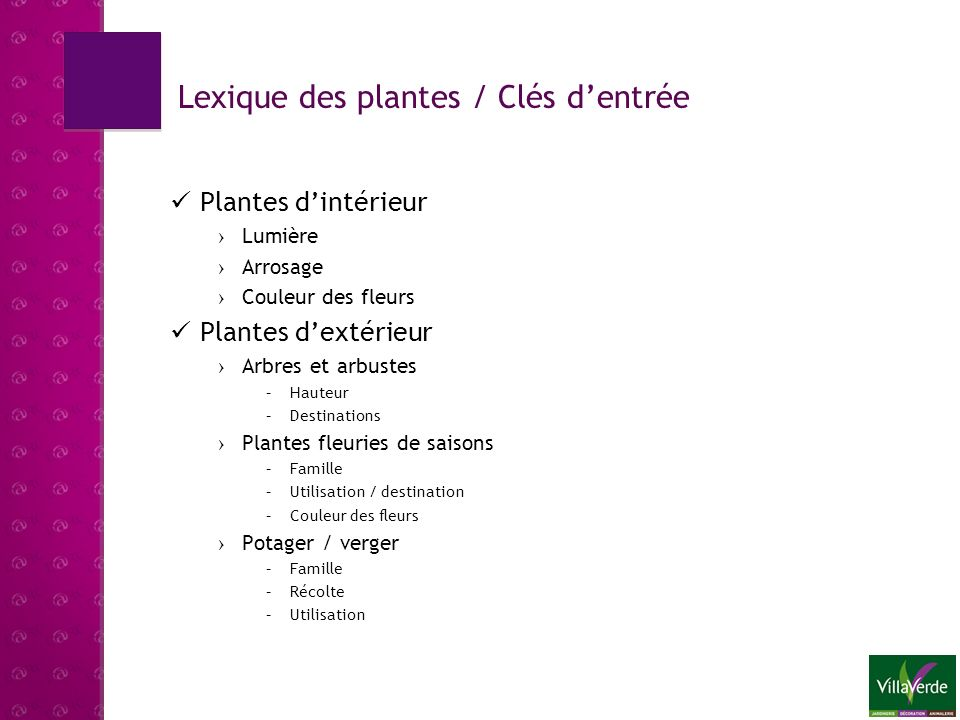 Lexique des plantes / Clés d'entrée
