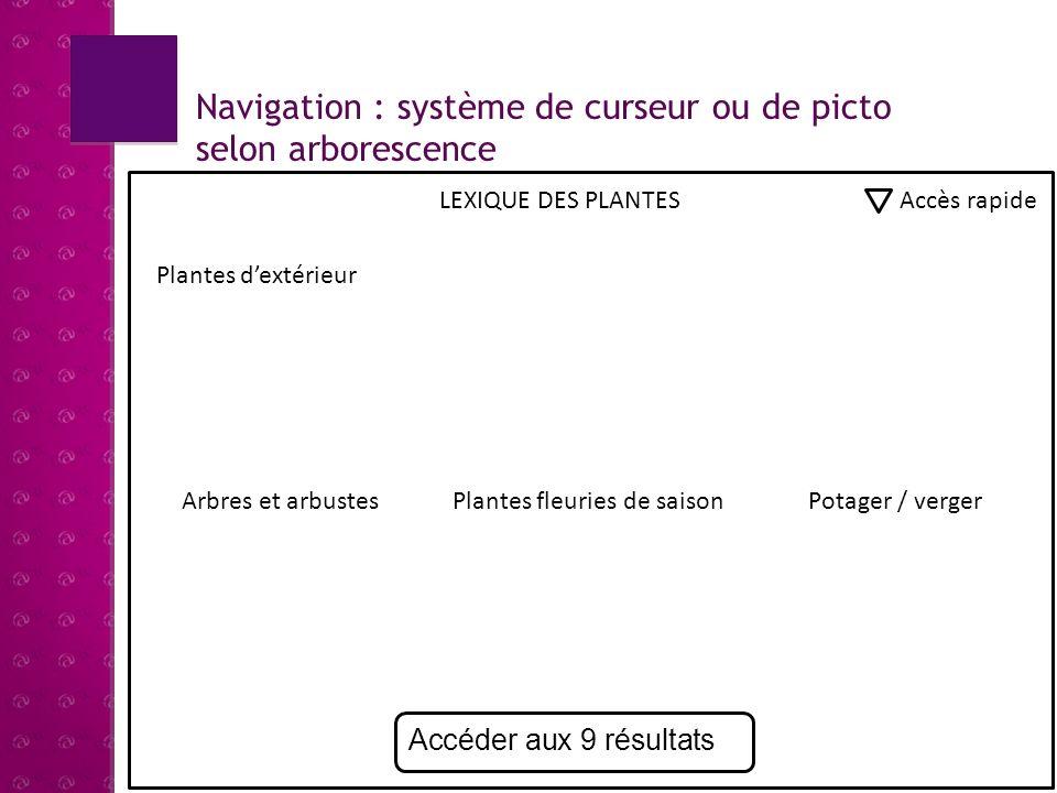 Navigation : système de curseur ou de picto selon arborescence
