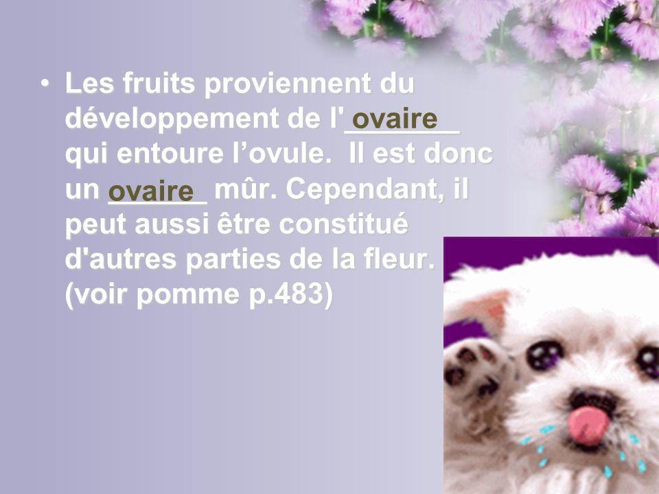 Les fruits proviennent du développement de l _______ qui entoure l'ovule. Il est donc un ______ mûr. Cependant, il peut aussi être constitué d autres parties de la fleur. (voir pomme p.483)