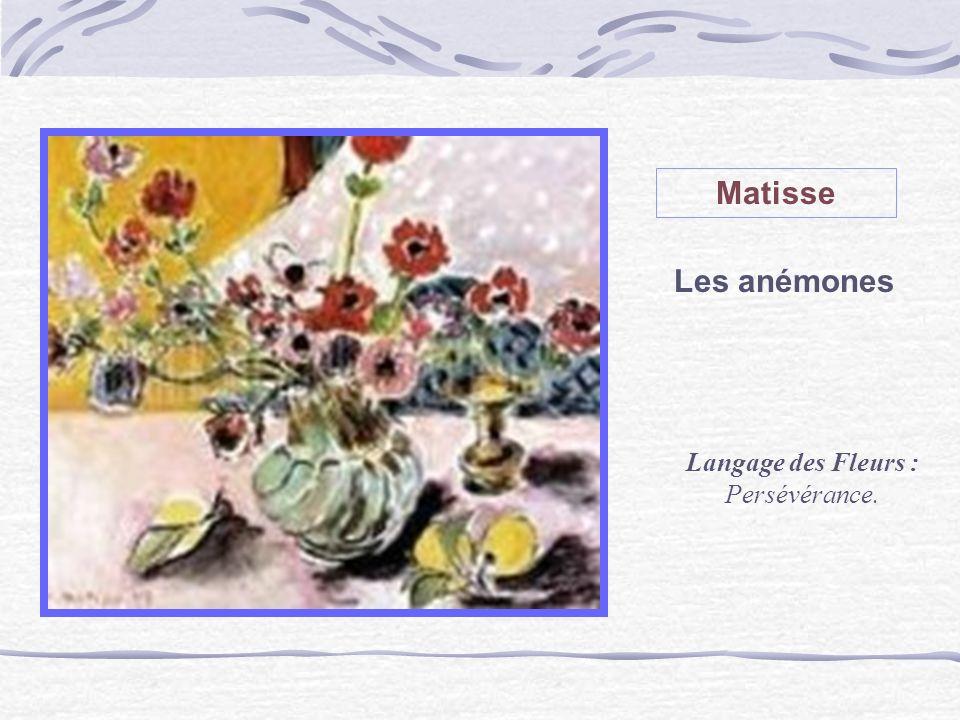 Matisse Les anémones Langage des Fleurs : Persévérance.