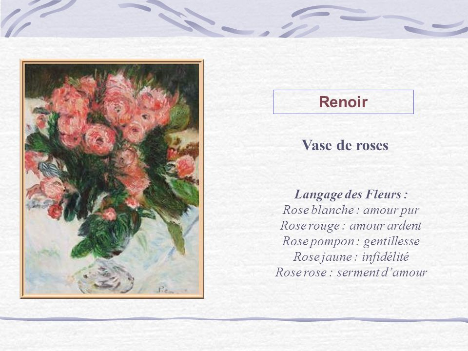 Renoir Vase de roses Langage des Fleurs : Rose blanche : amour pur