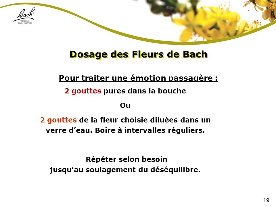 Dosage des Fleurs de Bach