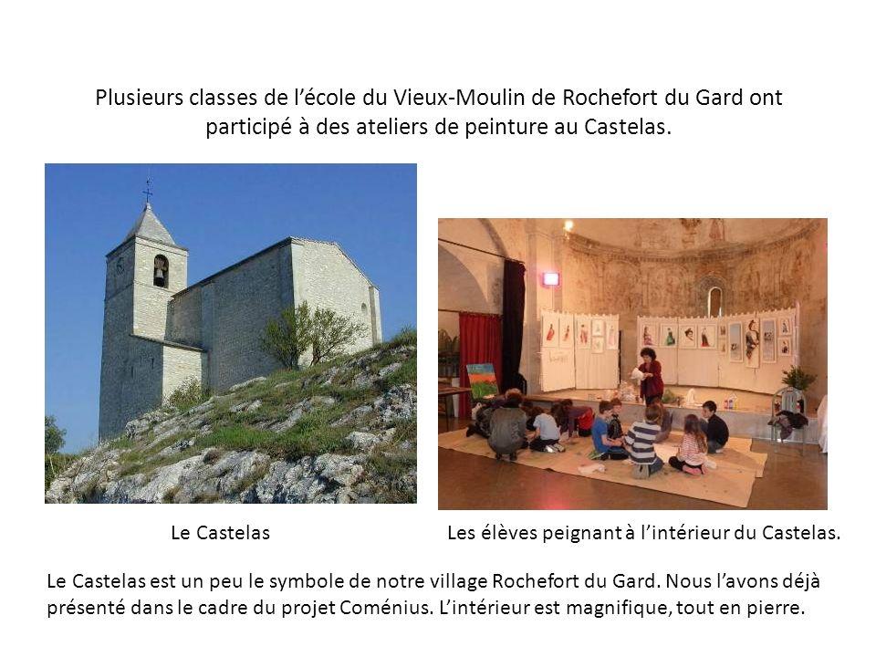 Plusieurs classes de l'école du Vieux-Moulin de Rochefort du Gard ont participé à des ateliers de peinture au Castelas.