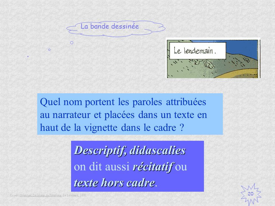 Descriptif, didascalies on dit aussi récitatif ou texte hors cadre.