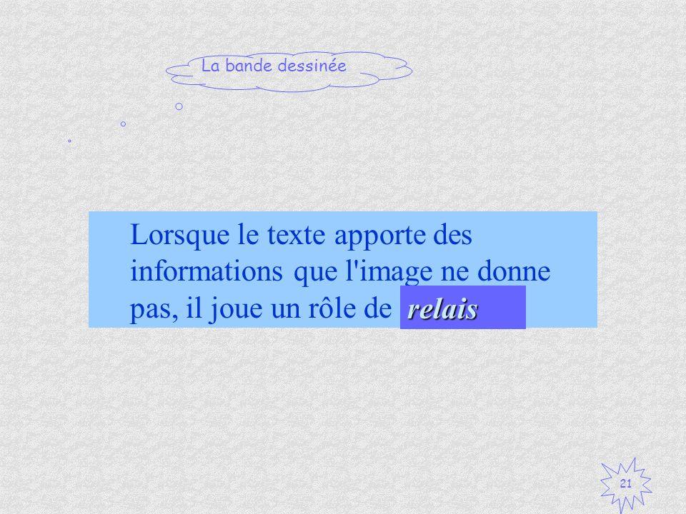Lorsque le texte apporte des informations que l image ne donne pas, il joue un rôle de .. .