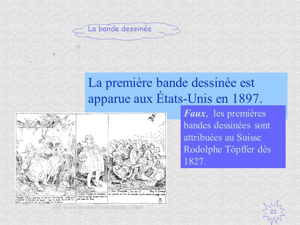 La première bande dessinée est apparue aux États-Unis en 1897.