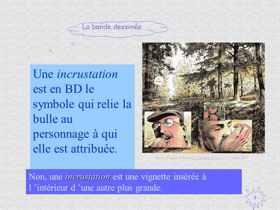 Une incrustation est en BD le symbole qui relie la bulle au personnage à qui elle est attribuée.