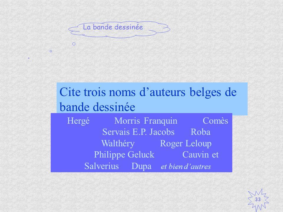 Cite trois noms d'auteurs belges de bande dessinée