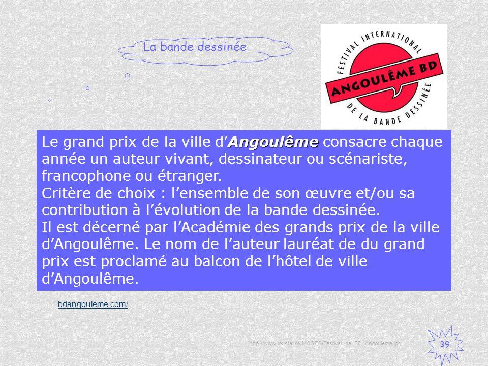 Le grand prix de la ville d'Angoulême consacre chaque année un auteur vivant, dessinateur ou scénariste, francophone ou étranger. Critère de choix : l'ensemble de son œuvre et/ou sa contribution à l'évolution de la bande dessinée. Il est décerné par l'Académie des grands prix de la ville d'Angoulême. Le nom de l'auteur lauréat de du grand prix est proclamé au balcon de l'hôtel de ville d'Angoulême.