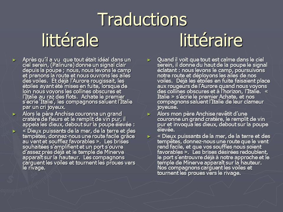 Traductions littérale littéraire