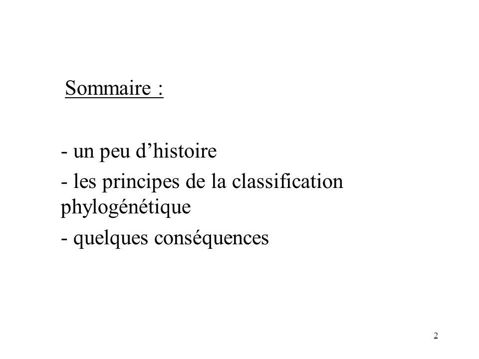 Sommaire : - un peu d'histoire. - les principes de la classification phylogénétique.