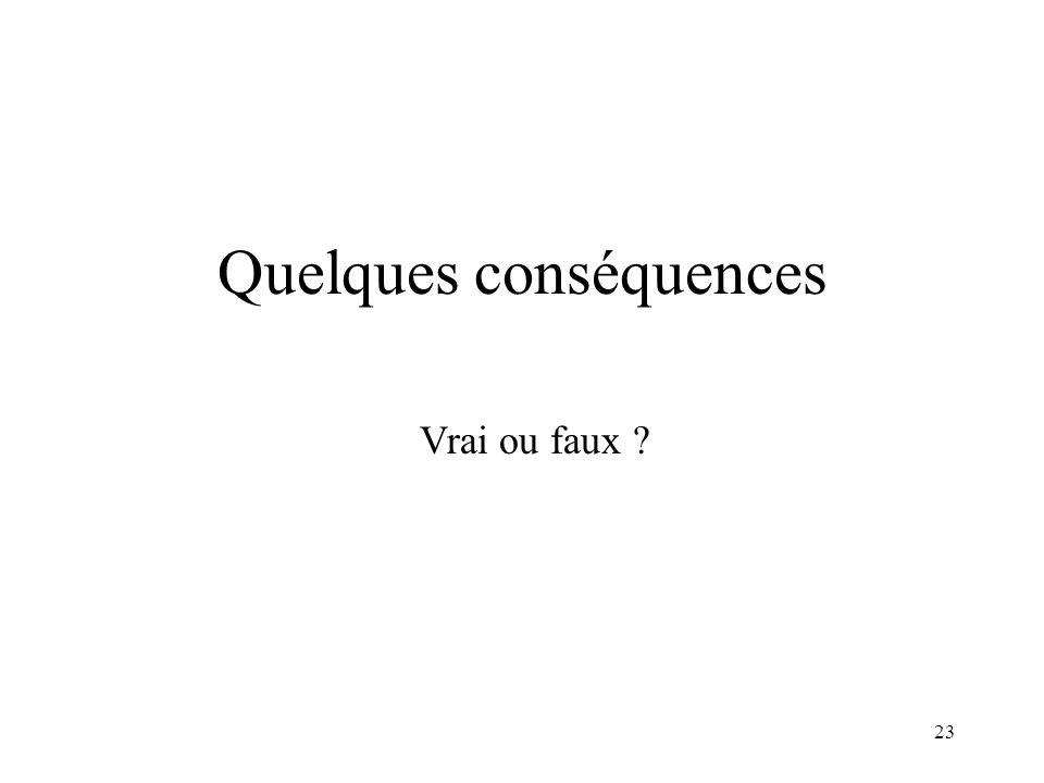 Quelques conséquences